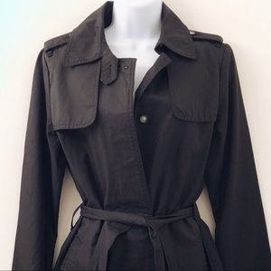 GAP Black Trench coat button up with waist tie